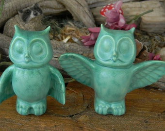 Owl Couple  Ceramic Glazed Owls Handmade...  Made to order  oa