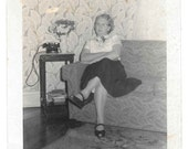 Waiting for a Phone Call vintage photo Leggy Woman Home Interior Telephone snapshot
