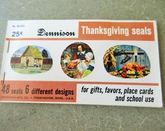 Vintage Dennison Seals, Thanksgiving Seals, Dennison Stickers, Pilgrim Stickers, Harvest Seals, Turkey Seals, Fall Decorations