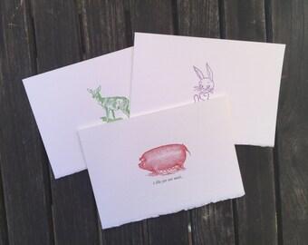 PUN pack of three notecards