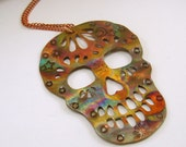 Copper Flame Painted Skull Pendant Necklace, Copper Skull, Copper Pendant, Copper Necklace, Skull Jewelry