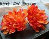 Sunset Orange Mum Duo - Vegan Friendly - ATS or Tribal Fusion Belly Dance Hair Art Fascinator Clip Set