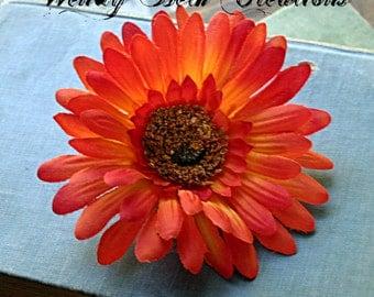 Sunset Orange Daisy - Vegan Friendly - ATS or Tribal Fusion Belly Dance Hair Art Fascinator Clip