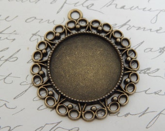 20 Blank Pendant Trays 1 Inch / 25 mm Antique Bronze Cabochon Settings