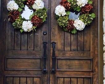 Set of 2- Hydrangea Fall Door Wreath