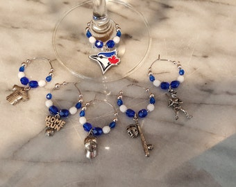 Toronto Blue Jays Baseball Wine Charms w/ Pouch