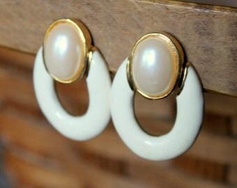 Vintage Earrings Door Knocker Pearl White Enameled Gold Tone