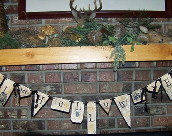 Halloween Banner Garland All Hallows Eve Banner Sepia & Black Vintage style