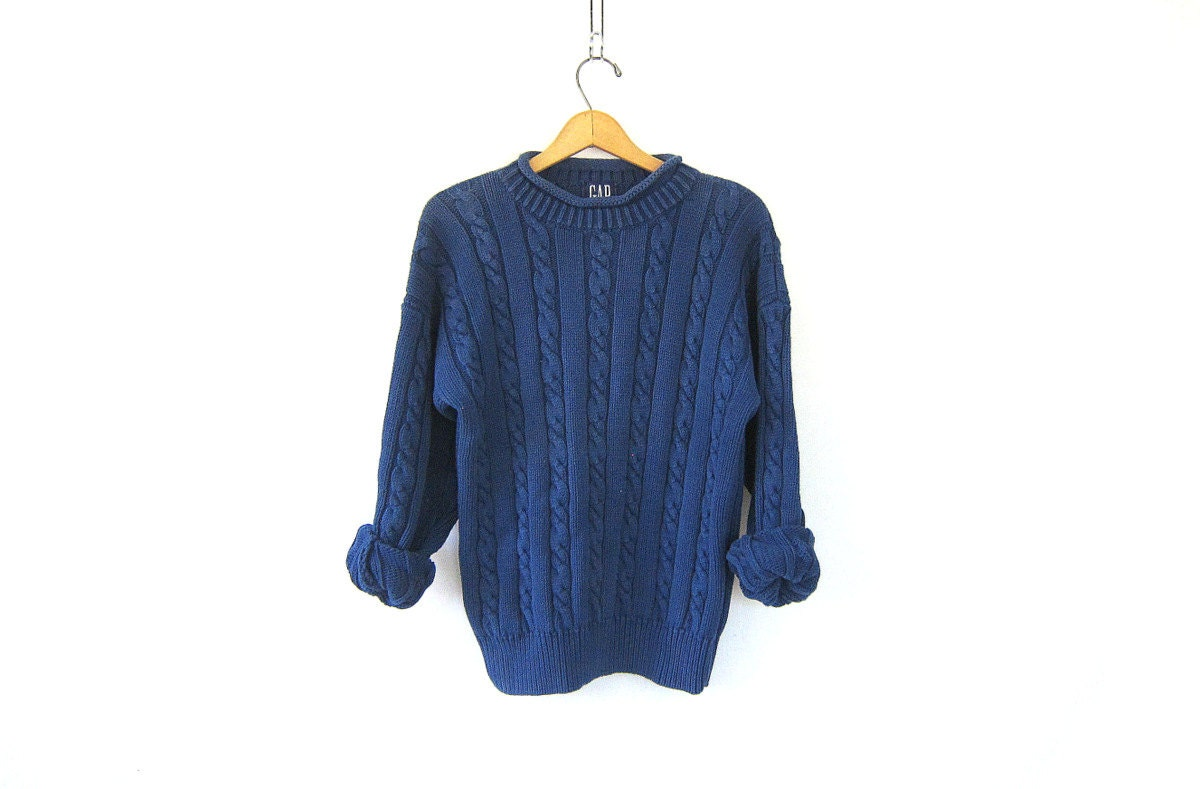 Vintage SLOUCHY sweater Plain blue chunky knit sweater Basic