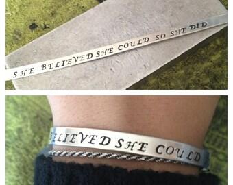 The Jeanne Bracelet - Custom Aluminum Hand Stamped Cuff