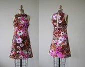 vintage 1960s dress / 60s mini dress / 1960s pink and brown floral dress / 60s cocktail dress / 60s small dress