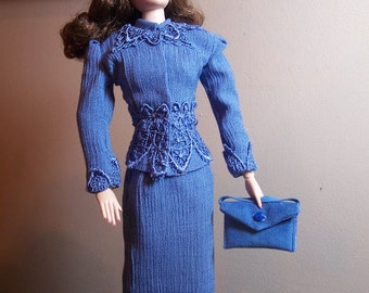 Gene or Tonner Tyler Body - Cerulean Blue Tweed Suit with Accessories