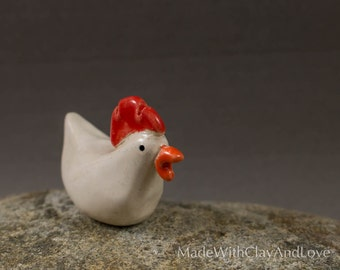 Little Chicken - Miniature Ceramic Animal - Terrarium Figurine - Hand Sculpted