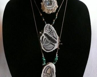 Hand Cut Deer Antler Burr Button with Abalone MOP Shell Flower 1 Necklace