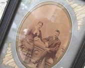 Antique Victorian Eastlake Frame * Silk Inlay Matting * Couple Cabinet Photo * Shabby Vintage