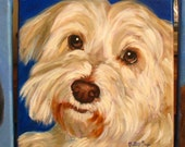 RESERVED for SARA B Mini Custom pet portrait SALE 4 x 4 Oil on stretched Gallery Wrap canvas