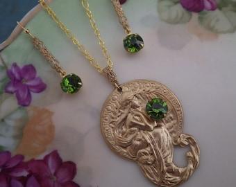 Art Deco ~ Alphonse Mucha Pendant ~ Olivine Green ~ Necklace ~ SET ~ Vintage Swarovski ~ by Upsweptillusions