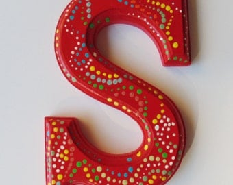 Dotted Letter S, Hand Painted Letter