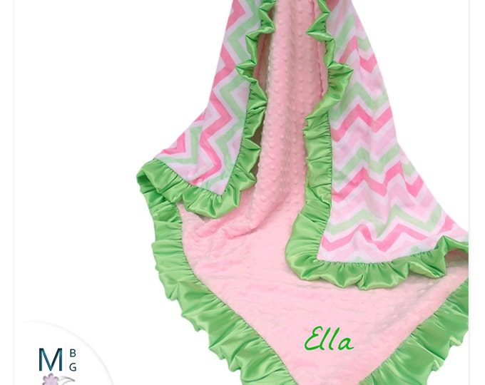 Pink and Green Chevron Ruffle Minky Baby BlanketCan Be Personalized