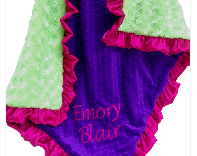 Bright Lime, Purple, and Hot Pink Baby Girl Blanket, also for toddler or teensCan Be Personalized