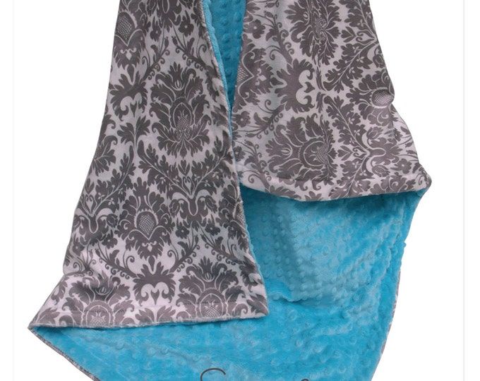 Turquoise Aqua Minky Dot and Gray Damask Minky Baby Blanket, for baby girl, toddler, or teen