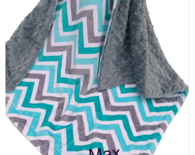 Spa Green Topaz and Gray Chevron Minky Baby BlanketCan Be Personalized
