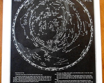 Vintage Star map, 1944  Astrological Chart, Astronomy, Constellations