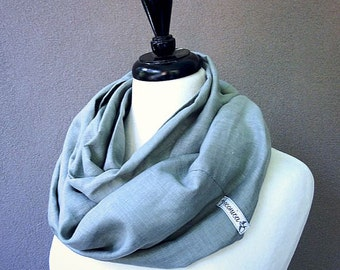 Linen wrap scarf, sage grey infinity wrap, oversized linen scarf, pale green linen infinity scarf ready to ship