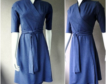 Organic Wrap dress in denim french terry, more colors, organic wrap dress, blue dress, aline dress, handmade clothes