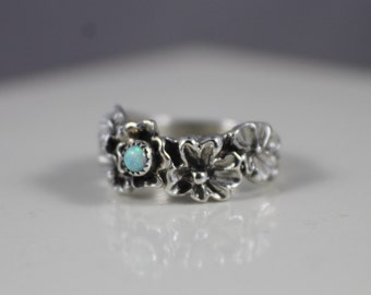 Sterling Silver Flower Opal Ring Band