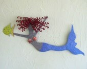 Metal Wall Sculpture Mermaid Art Red Head Recycled Metal Wall Hanging Blue Lavender Fish Beach House Coastal Decor 10 x 24
