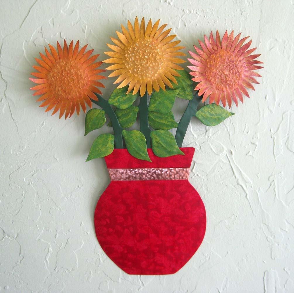 metal flower wall art sunflower sculpture floral art home wall. Black Bedroom Furniture Sets. Home Design Ideas