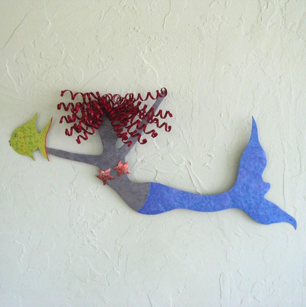 Metal Wall Sculpture Mermaid Art Red Head By