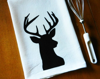 Deer Silhouette Kitchen Towel, Hand Printed Kitchen Towel, Deer Tea Towel, Stag Flour Sack Dish Towel, Screen Printed Deer Dish Towel