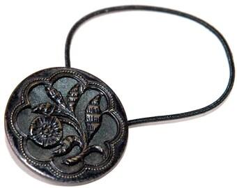 Braid & Ponytail Holder, Wildflower Motif, Vintage Brass Button, Pierced  and Tinted Metal, Victorian Era, Elastic Band Hair Tie Accessory