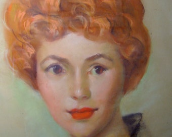 """Vintage Midcentury 1950s Framed Original Pastel Portrait Painting~Lovely Redheaded Lady """"Donna"""" 18x24 Inches"""