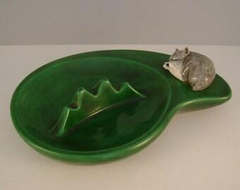 Vintage Midcentury Dark Green Ceramic Ashtray with Cutest Ever Sleeping Scottie Westie Schnauzer Dog