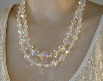 Vintage 1940s Majorca/Mallorca Spain AB Crystal Double Strand Necklace and Clip Earrings in Box