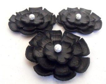 Jewelry supplies leather layered flowers for pendants, necklaces, brooches, shoes clips etc Handmade supplies
