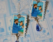 Earrings -I'll show you my stamp collection...- Tintin, Haddock- Postage Stamp Earrings