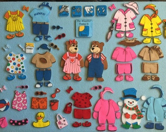 The Weather Bears Felt Board Set. *NEW*  Includes 2 adorable bears to dress.  75+ pieces