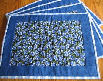 Quilted Placemats with Blueberries on a Black Background - Set of 4