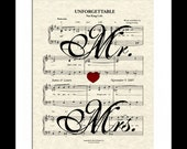 Unforgettable Sheet Music Art Print, Spiral Song Lyric Art, Mr & Mrs Art, Nat King Cole, First Dance Art, Names and Date, Classic Love Song