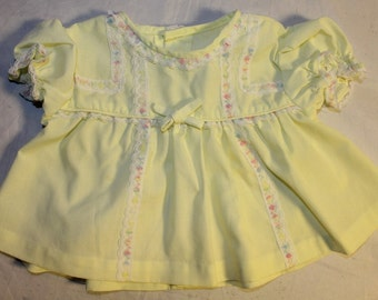 Vintage Infant Baby Girl Dress, Yellow, Newborn, 1960's Era