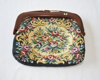 Vintage TAPESTRY Clutch Purse With LUCITE Type Handle Floral Clean Inside