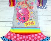 PINK DONUT - a dress made out of authentic SHOPKINS tshirt super cool funky recycled upcycled  pieced  size 4 (other sizes also available )