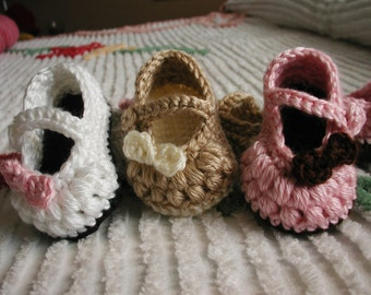 Crochet Little Bow Peep Mary Janes 0-3 months Baby Girl Bootie Shoes