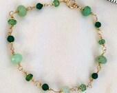 Dainty Gemstone Bracelet Wire Wrapped Gold Fill Chrysoprase Green Onyx Bracelet Green Gemstone Layering Bracelet Delicate Jewelry