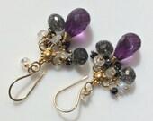 Amethyst Chandelier Earrings, Black Rutilated Quartz Moonstone Gemstone Earring  Wire Wrapped Chandelier Earrings, Gold Chandelier Earrings