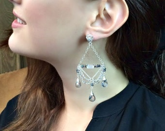 Mystic Topaz Chandelier Earrings Sterling Silver Chain Earrings Wire Wrap Mystic Quartz Post Dangle Earrings Bohemian Earrings